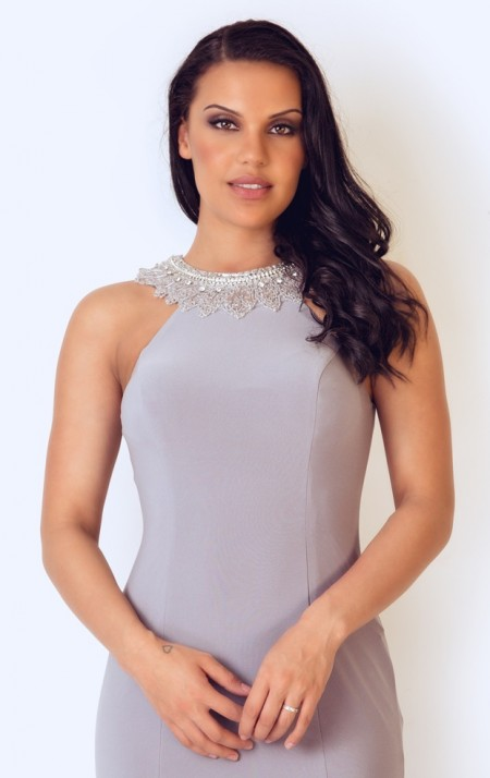 Silver grey jersey evening dress with bead neck detail