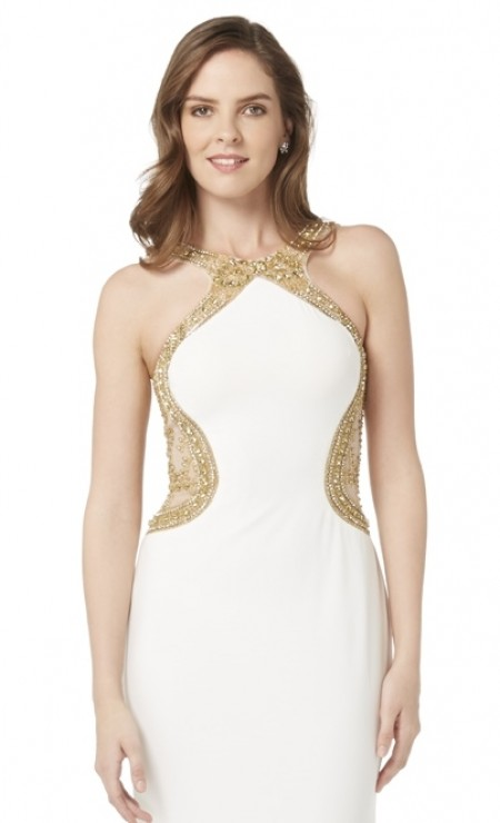 Grecian jersey evening/prom dress with beaded netting back and side panels