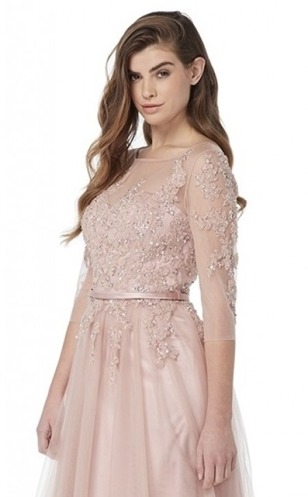 Chiffon, 3/4 sleeve. A line prom dress with lace applique