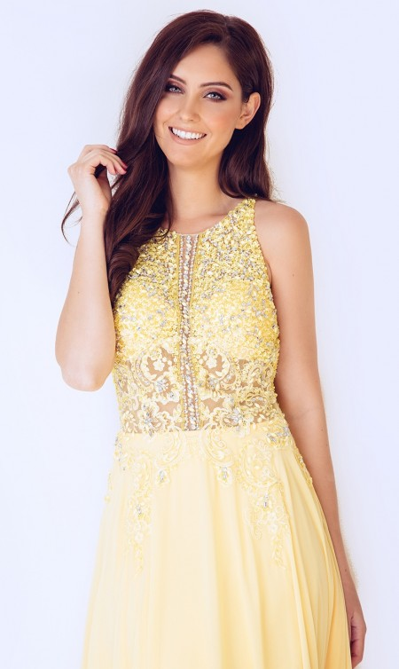 High neck, chiffon Prom dress with beaded bodice