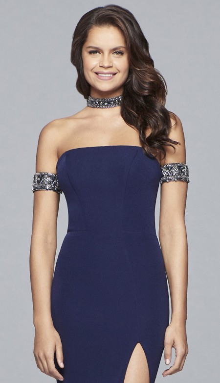 Due in for 2018 - Crepe strapless dress with beaded arm band and matching choker necklace