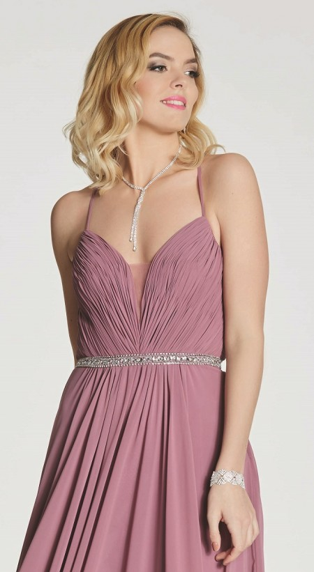 Grecian chiffon prom dress with laced back