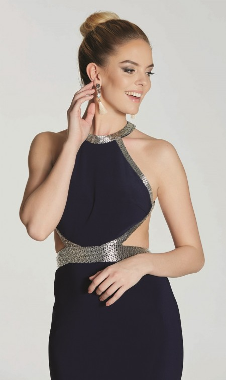 Jersey backless evening dress with bar bead trim