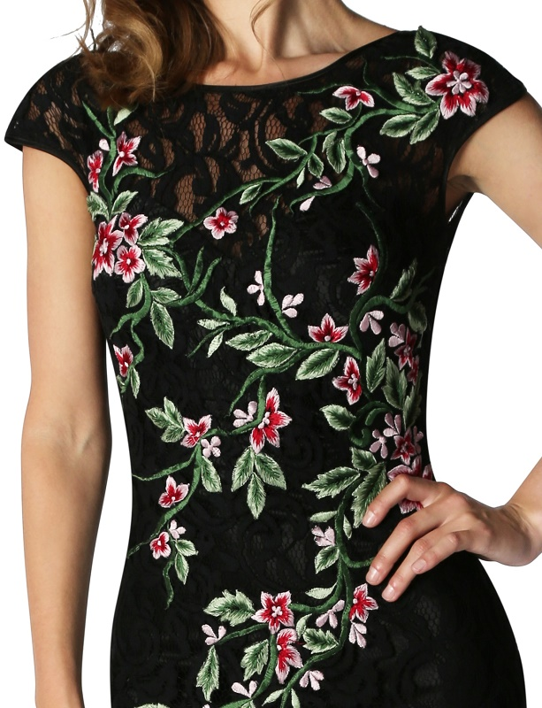 Black lace evening dress with embroidered floral motif at