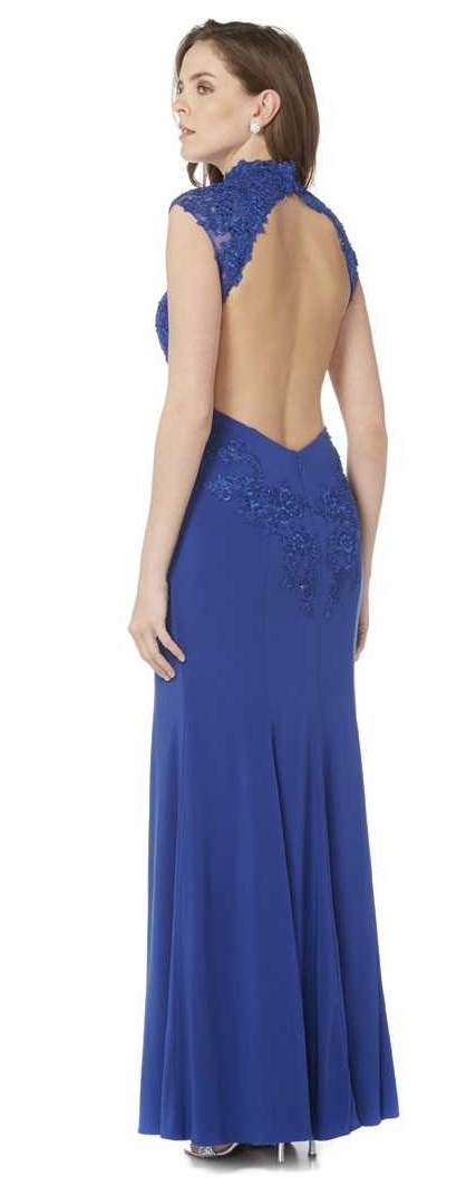 Turtle neck jersey & lace backless dress at Ball Gown Heaven