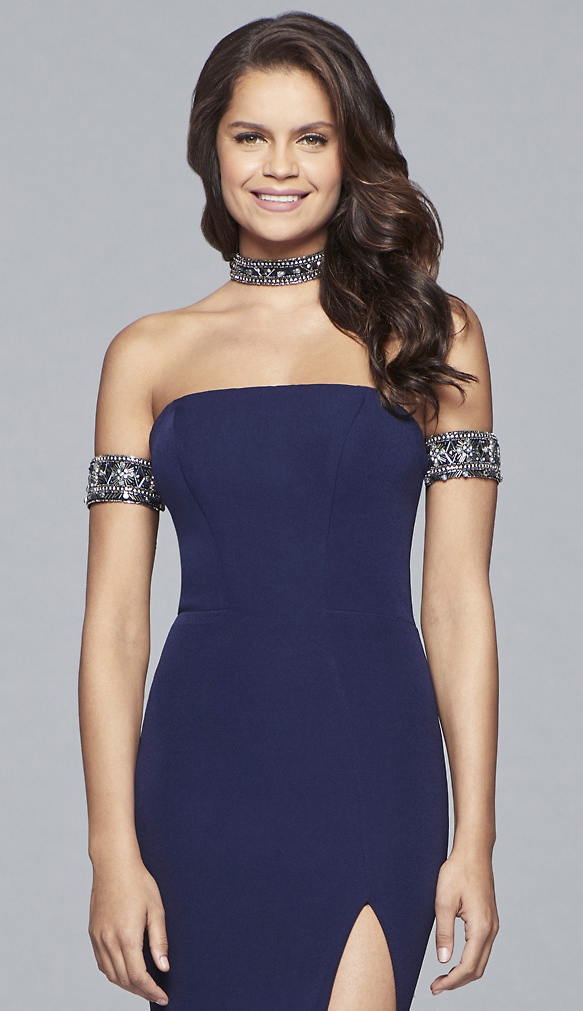 Crepe strapless dress with beaded arm band and matching for How to match jewelry with prom dress